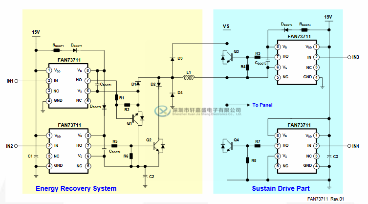 FAN73711M的特征: 用于自举操作的浮动通道至+ 600V 4A / 4A采购/吸引电流驱动能力 共模dv / dt噪声消除电路 3.3V和5V输入逻辑兼容 输出与输入信号同相 VBS欠压锁定 内置并联稳压器在VDD和VBS 8引脚小型封装(SOP) FAN73711M的引脚配置(顶视图):  FAN73711M的浮动双向开关和半桥驱动器:PDP应用:  FAN73711M的降压(Buck)DC-DC转换器应用:  FAN73711M的描述: FAN73711是一款单片高端栅极驱动IC,可驱动高达+