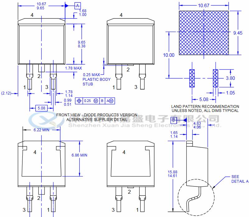 FQB22P10的特征: -22 A,-100 V,RDS(on)= 125mΩ (Max)@VGS = -10 V,ID = -11 A 低栅极电荷(典型值40 nC) 低Crss(Typ。160 pF) 100%雪崩测试 175°C最大结温额定值  FQB22P10的概述: 该P沟道增强型功率MOSFET是使用飞兆半导体 专有的平面条纹和DMOS技术生产的。 这种先进的MOSFET技术特别适合于降低导通电阻, 并提供卓越的开关性能和高雪崩能量强度。 这些器件适用于开关电源,音频放